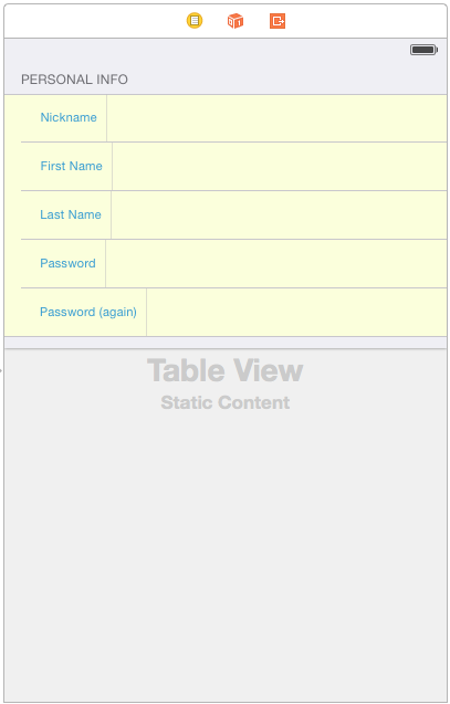 Table View: Personal Info section