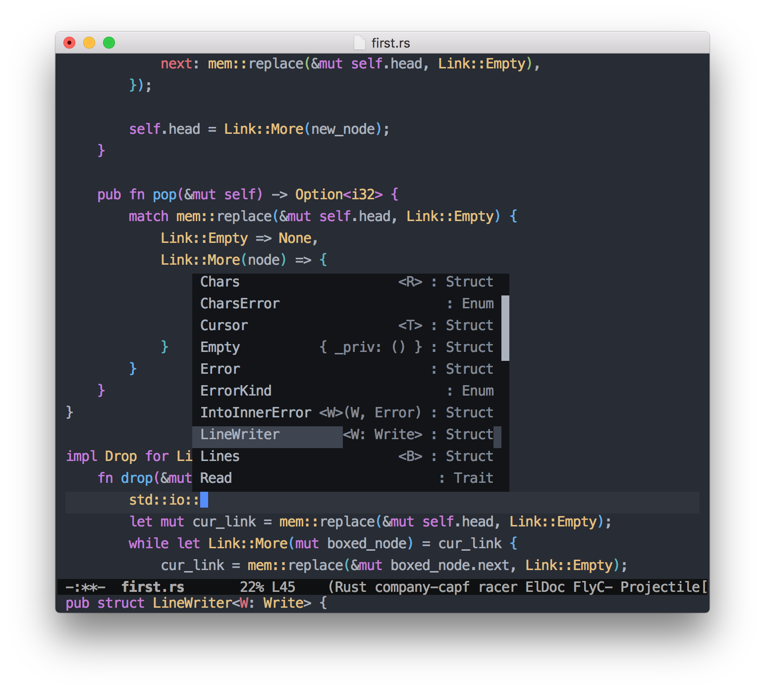 Emacs: Rust code autocomplete